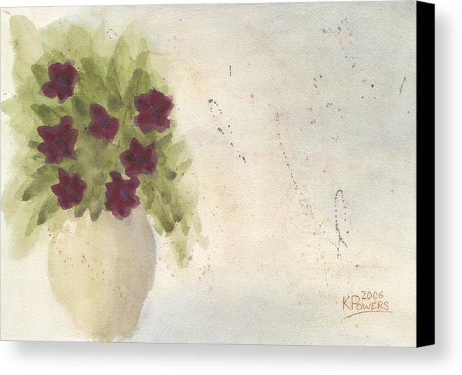 Petunia Canvas Print featuring the painting Purple Petunias by Ken Powers