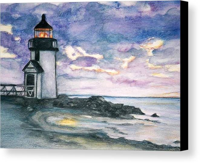 Nantucket Canvas Print featuring the painting Purple Skies Over Nantucket by Debra Sandstrom