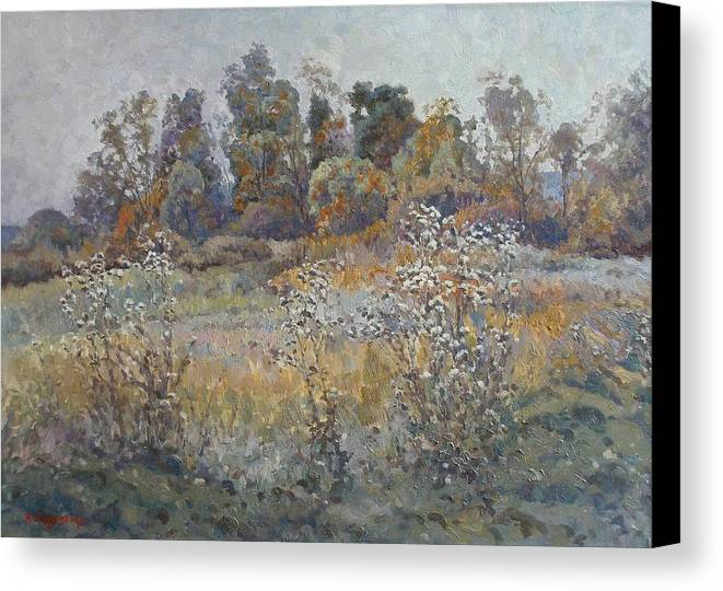 Landscape Canvas Print featuring the painting Quiet Evening by Andrey Soldatenko