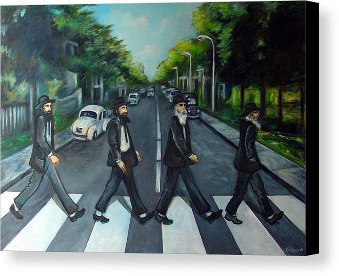 Surreal Canvas Print featuring the painting Rabbi Road by Valerie Vescovi