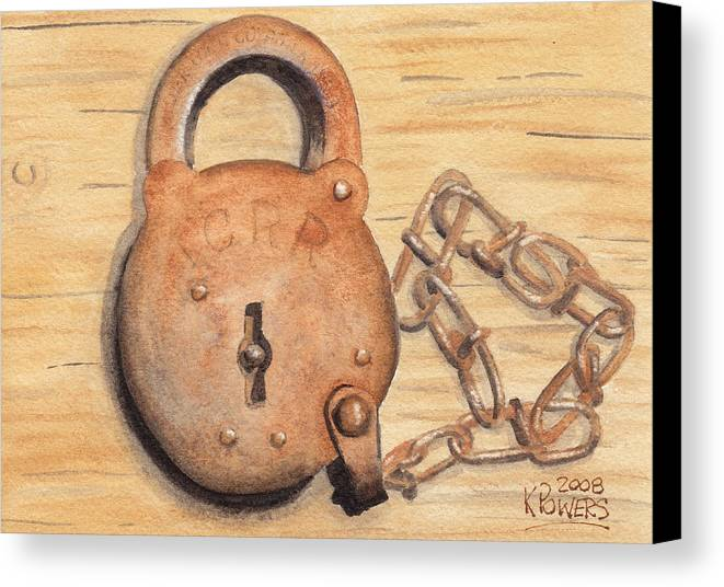 Lock Canvas Print featuring the painting Railroad Lock by Ken Powers