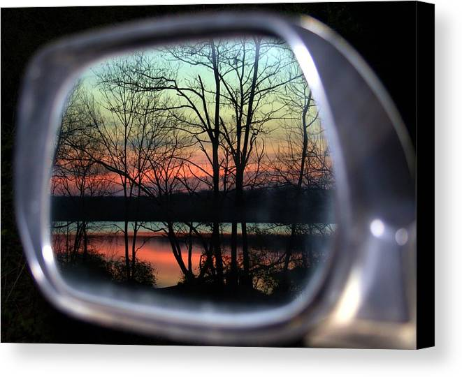 Rearview Mirror Canvas Print featuring the photograph Rearview Mirror by Mitch Cat