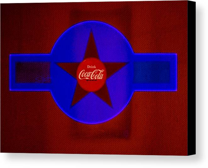 Label Canvas Print featuring the painting Red And Blue by Charles Stuart