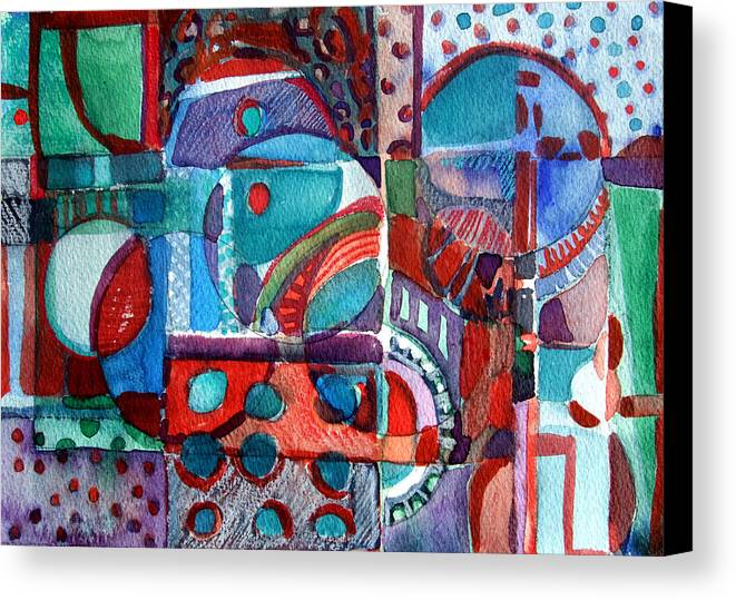 Abstract Canvas Print featuring the painting Red And Green Jazz by Mindy Newman