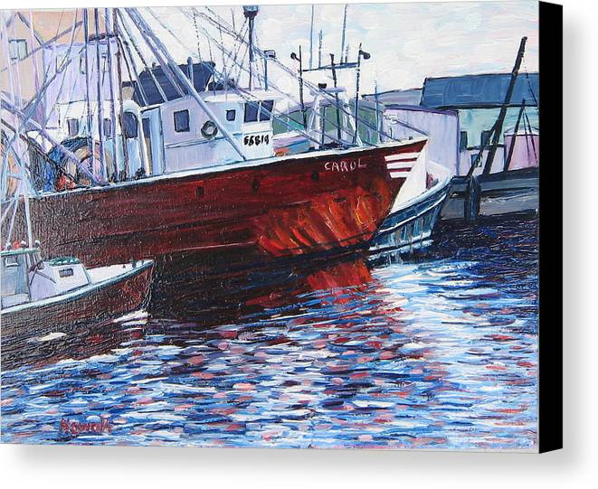 Boats Canvas Print featuring the painting Red Boats by Richard Nowak