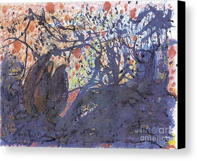 Contemporary Painting Canvas Print featuring the painting red snow, 19 March 2015 by Tatiana Chernyavskaya