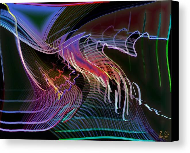 Drawing Canvas Print featuring the digital art Reflexions Blue by Helmut Rottler