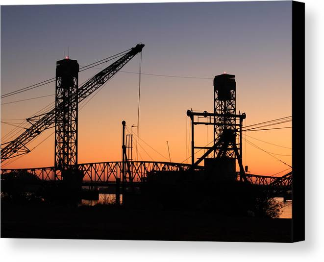Barge Canvas Print featuring the photograph Rio Vista Bridge And Barges by Troy Montemayor