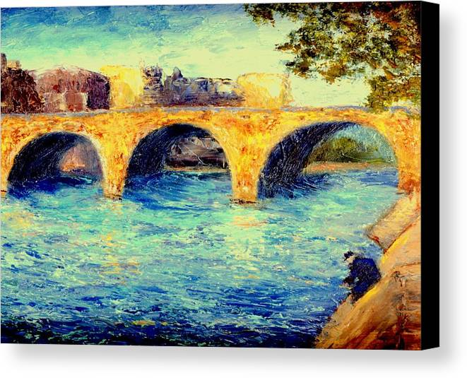 Impressionism Canvas Print featuring the painting River Seine Bridge by Gail Kirtz