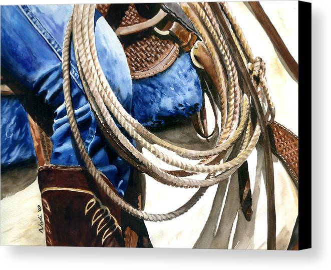 Rope Canvas Print featuring the painting Rope by Nadi Spencer