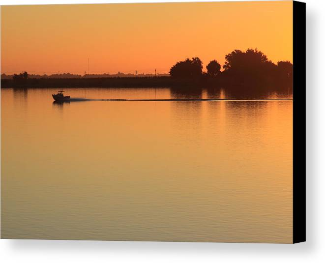 Boat Canvas Print featuring the photograph Sacramento River Sunrise by Troy Montemayor