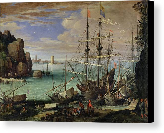 Scene Canvas Print featuring the painting Scene Of A Sea Port by Paul Bril