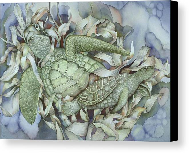 Sea Canvas Print featuring the painting Sea Turtles Mum And Babe by Liduine Bekman