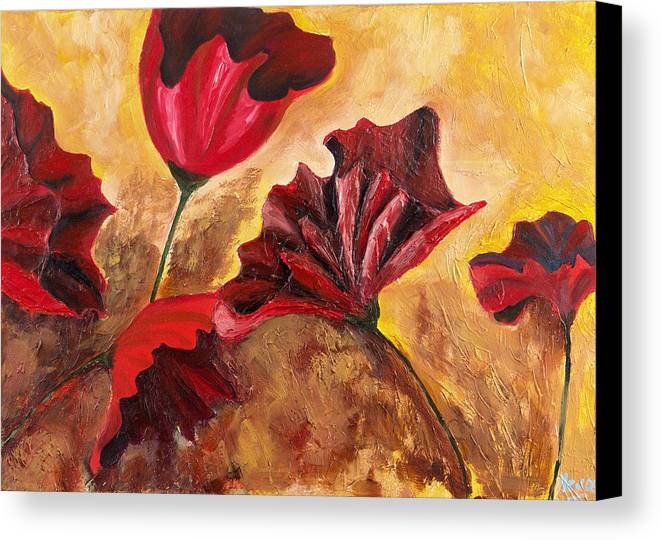 Flowers Canvas Print featuring the painting Second Passion by Helene Lagoudakis