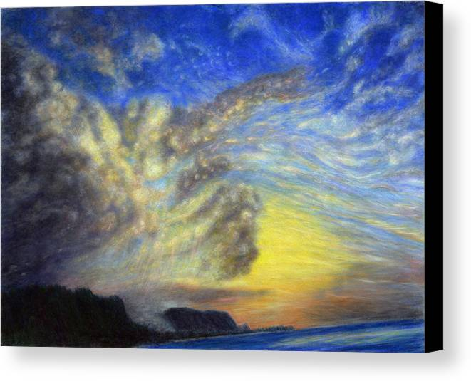 Coastal Decor Canvas Print featuring the painting Secret Beach Sunset by Kenneth Grzesik
