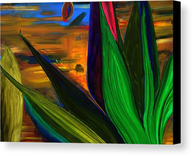 Landscape Canvas Print featuring the painting Seeds And Leaves I by Gregory Allen Page