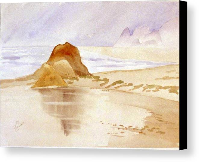 Seascape Canvas Print featuring the painting Shining Sands by Leo Chiantelli