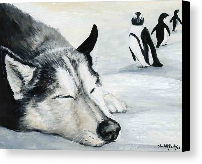 Siberian Huskey Canvas Print featuring the painting Siberian Huskey by Charlotte Yealey