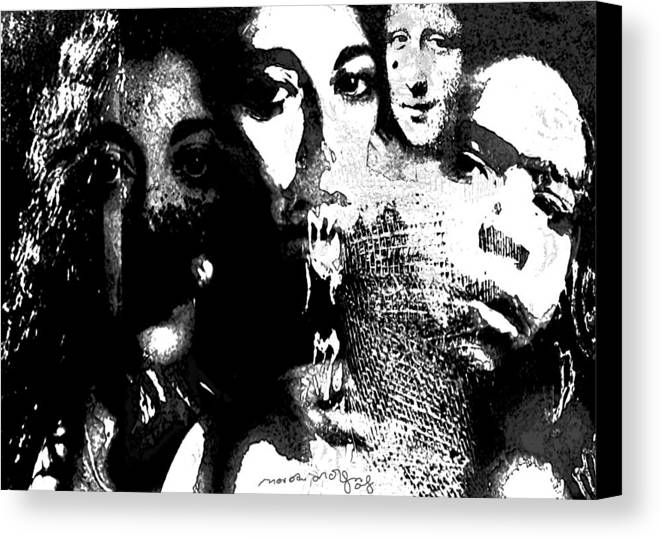 Human Composition Canvas Print featuring the mixed media Silent Dance by Noredin Morgan