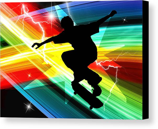 Skateboard Skate+boarding Sports Athletic Stunts Canvas Print featuring the painting Skateboarder In Criss Cross Lightning by Elaine Plesser