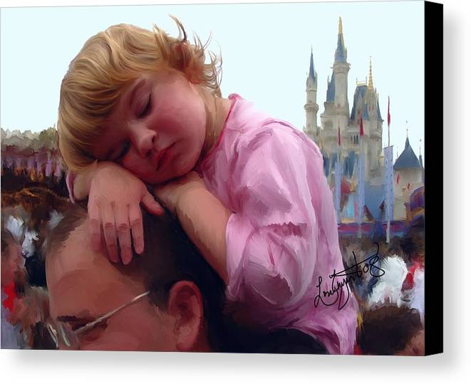 Children Canvas Print featuring the painting Sleeping Beauty by Lori Enyart