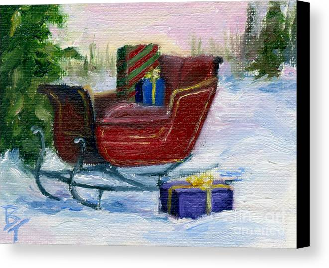 Sleigh Canvas Print featuring the painting Sleigh Aceo by Brenda Thour