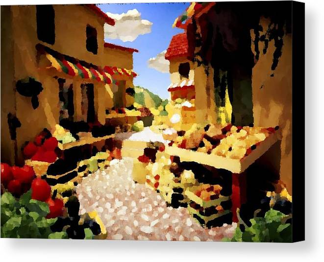 Market.town.street.road.houses.shadow.things For Sale.heat.rest.silence. Canvas Print featuring the digital art small urban market on Capri island by Dr Loifer Vladimir