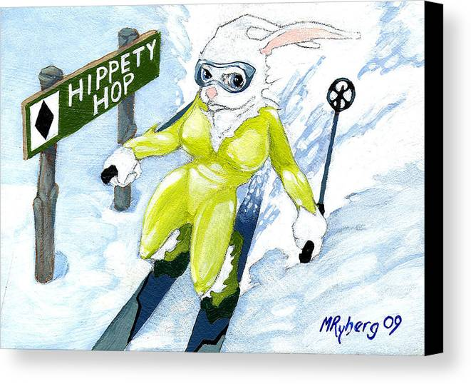 Ski Skiing Rabbit Snowbunny Canvas Print featuring the painting Snow Bunny Skiing by Mark Ryberg