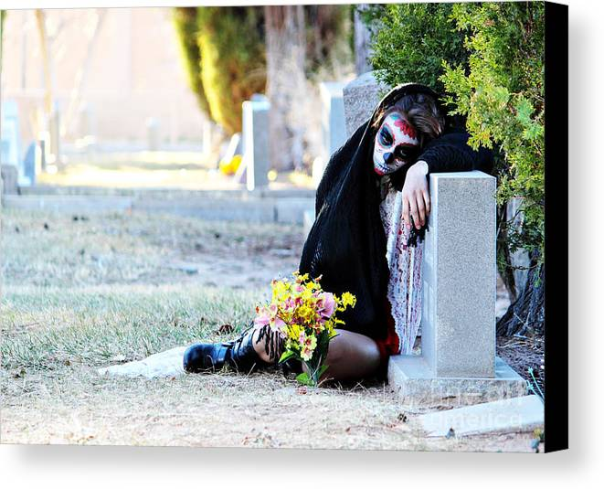 Sorrow Canvas Print featuring the photograph Sorrow - Dia De Los Muertos by Val Armstrong