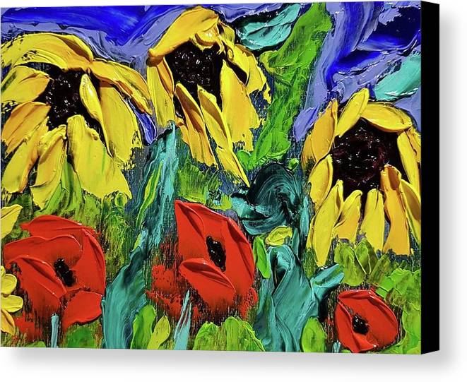 Sunflowers Canvas Print featuring the painting Sunflowers And Poppies - Little Treasures Series by Paula Formanek