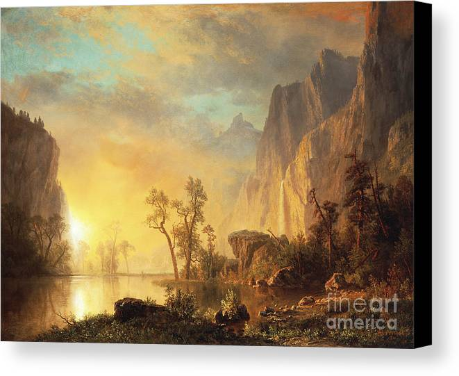 Bierstadt Canvas Print featuring the painting Sunset In The Rockies by Albert Bierstadt
