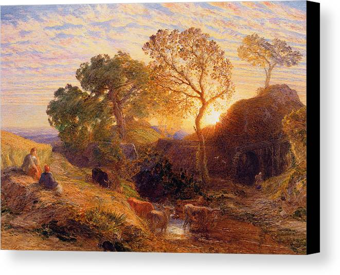 Sunset Canvas Print featuring the painting Sunset by Samuel Palmer