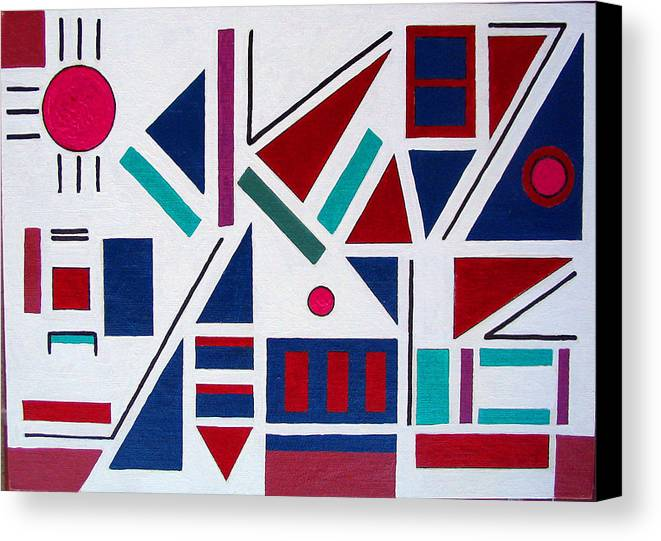 Abstract Canvas Print featuring the painting Symmetry In Blue Or Red by Marco Morales