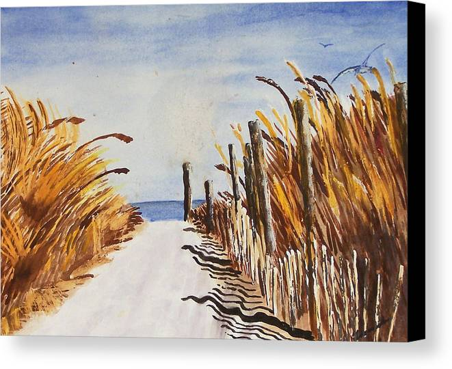 Beach Canvas Print featuring the painting Tall Grass With Drift Fence by Robert Thomaston