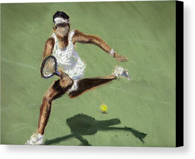 Pastels Canvas Print featuring the pastel Tennis In The Sun by Paul Mitchell