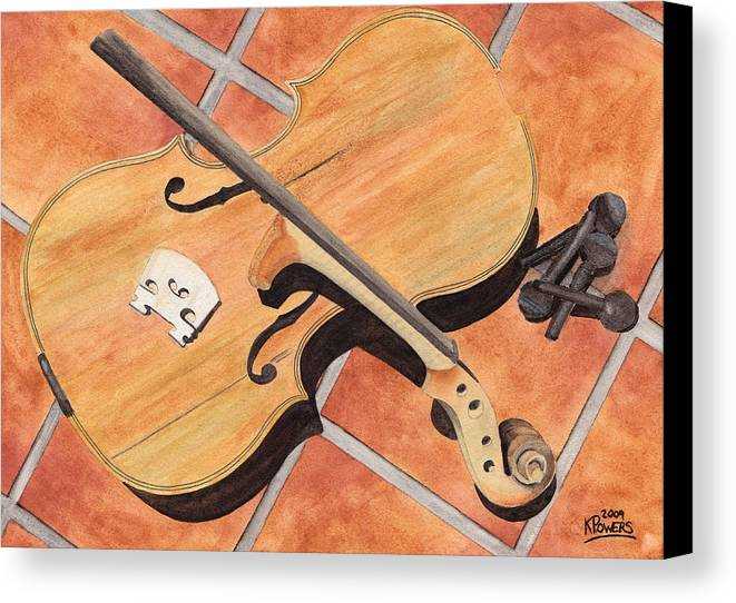 Violin Canvas Print featuring the painting The Broken Violin by Ken Powers
