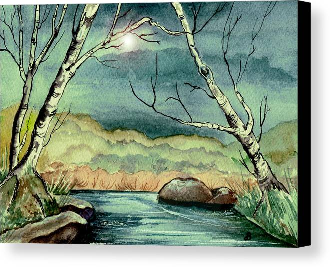 Watercolor Canvas Print featuring the painting The Coming Storm by Brenda Owen