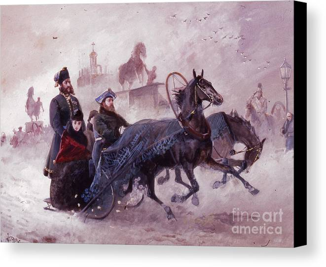 The Empress Maria Fjodorovna In A Sleigh Crossin The Anishkov Bridge In Sain Petersburg J.beer Canvas Print featuring the painting The Empress Maria Fjodorovna by MotionAge Designs