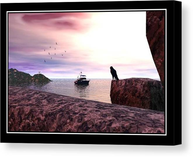 Falcon Landscape Seascape Beach Rocks Photo Print Canvas Realism Sky Williamballester Canvas Print featuring the digital art The Falcon At The Beach by William Ballester