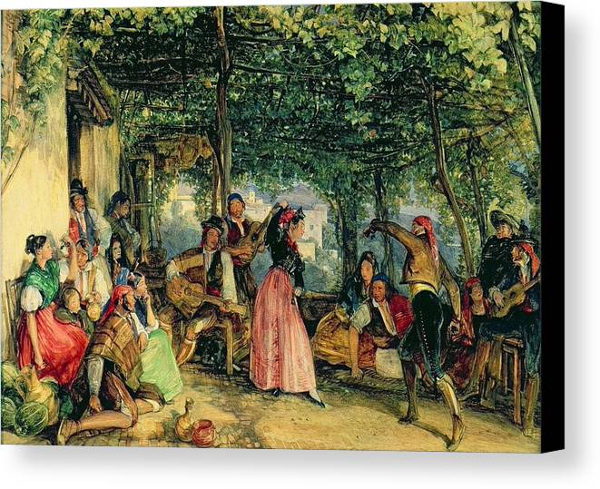 John Frederick Lewis(1804-1876)-orİentalİsm-(the Fiesta At Granada_19th Century) Canvas Print featuring the painting The Fiesta At Granada by John Frederick