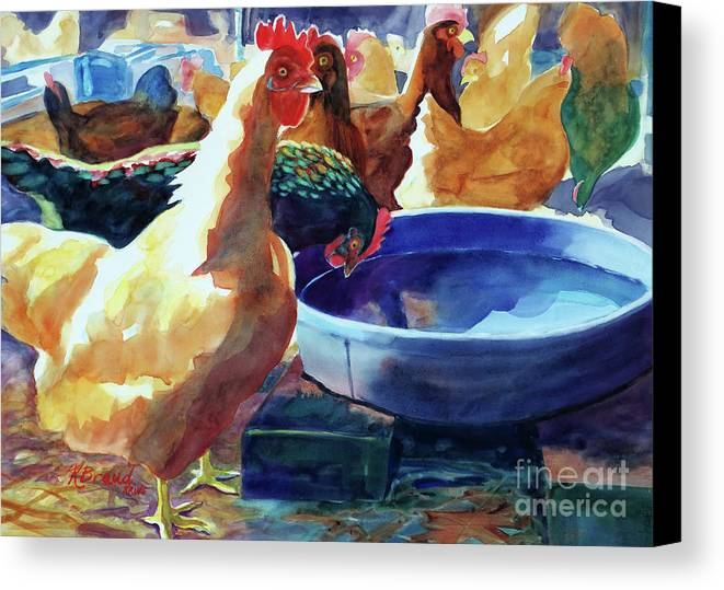 Paintings Canvas Print featuring the painting The Henhouse Watering Hole by Kathy Braud