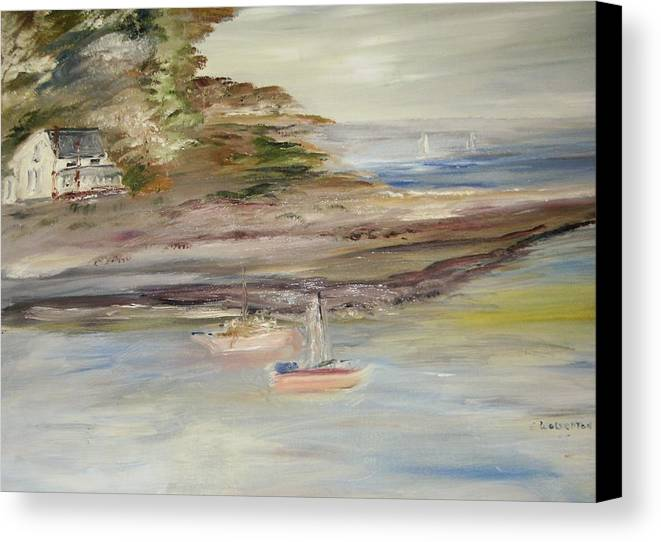 Seascape Canvas Print featuring the painting The Island Cove by Edward Wolverton