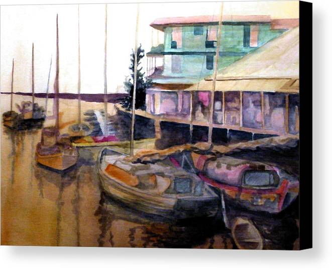 Marina Canvas Print featuring the painting The Marina by Jim Phillips