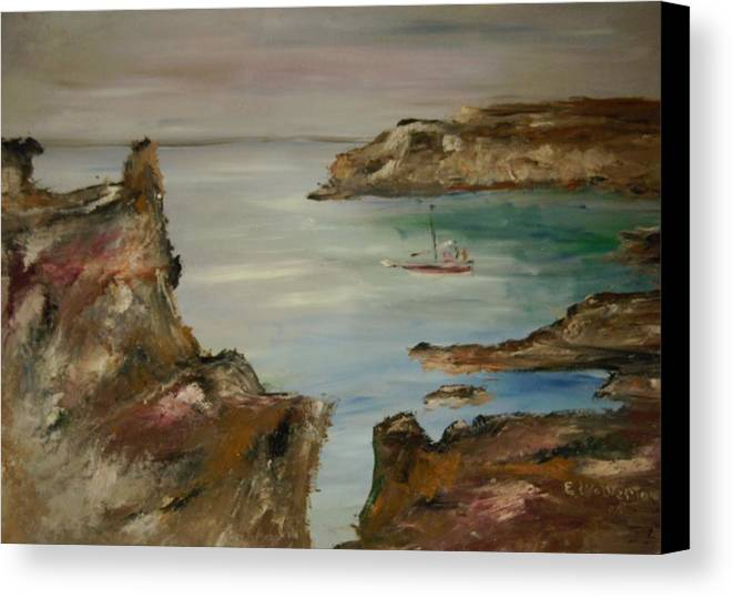 Seascape Canvas Print featuring the painting The Mediteranean Coastline by Edward Wolverton