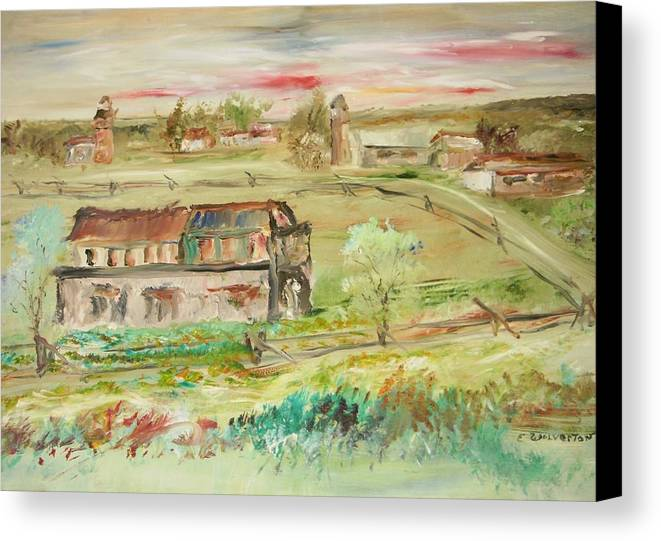 Landscape Canvas Print featuring the painting The Old Courthouse by Edward Wolverton