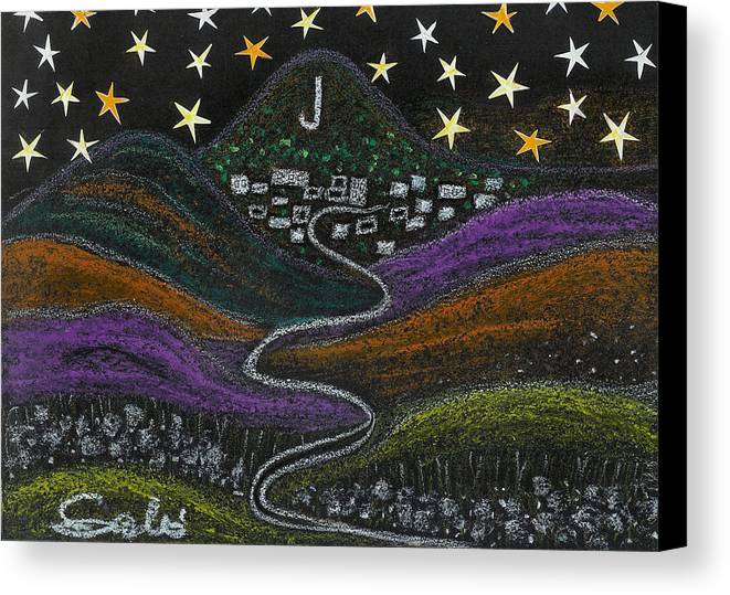 Stars Canvas Print featuring the drawing The Road To Jerome 89a Az by Ingrid Szabo