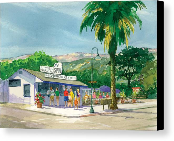 Famous Burger Joint Canvas Print featuring the painting The Spot by Ray Cole