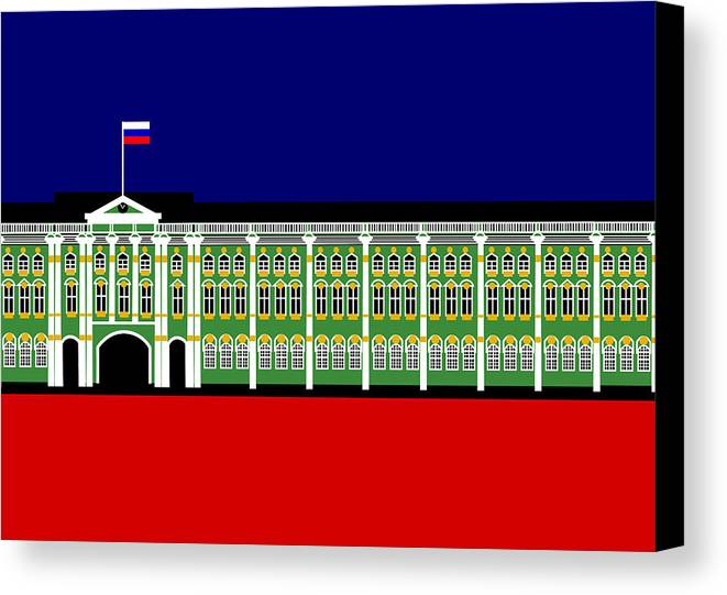 Winter Palace Canvas Print featuring the digital art The Winter Palace Inspiration St Petersburg Russia by Asbjorn Lonvig