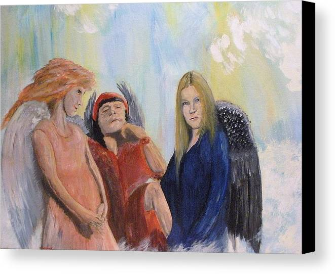 She Wonders Are They Worth It? Canvas Print featuring the painting They Talk Of Man by J Bauer