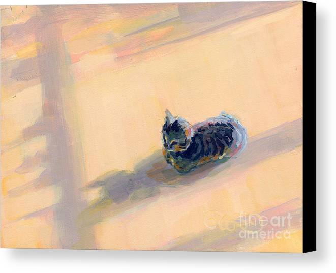 Gray Tabby Canvas Print featuring the painting Tiny Kitten Big Dreams by Kimberly Santini